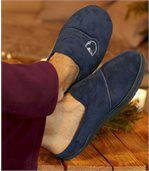 Men's Faux-Suede Slippers with Polar Fleece Lining