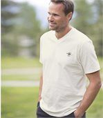 Pack of 3 Men's V-Neck T-Shirts - Navy Burgundy Off-White