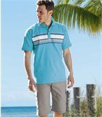 Pack of 2 Men's Polo Shirts - White Turquoise - Pacific Leisure preview2