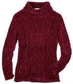Women's Burgundy Cable-Knit Jumper preview2