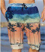 Bermuda de Bain Homme Multicolore à Motif Plage Microfibre Beach Day preview1