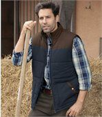 Men's Two-tone Padded Gilet - Navy Brown