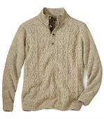 Men's Beige Knit Jumper - Button Neck preview2