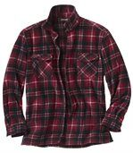 Men's Thick Checked Fleece Shirt – Red Ecru Black