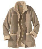 Kabát z umělého semiše podšitý umělým beránkem preview1