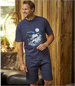 Men's Navy Blue Wolf Print Short Pyjama Set
