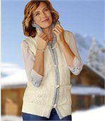 Pletená korálová vesta preview1