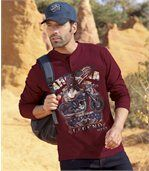 Pack of 2 Men's Long Sleeve Tops with Arizona Legend Print - Red Anthracite Grey preview2