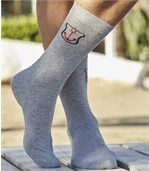Pack of 3 Men's Patterned Socks - Black Grey