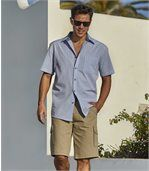 Men's Checked Blue Summer Shirt preview3