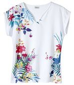 T-shirt van 2 materialen met tropische print