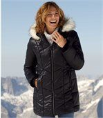 Women's Black Padded Coat with Faux Fur Hood preview1