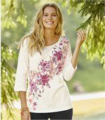 Women's Ecru Floral Top – Three Quarter Length Sleeves