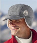 Men's Grey Faux Suede and Sherpa Cap
