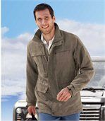 Semišová bunda vsafari stylu sněkolika praktickými kapsami preview1