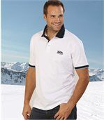 Pack of 2 Men's Jersey Polo Shirts - White Navy Blue preview2