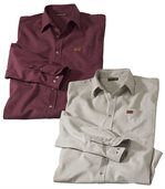 Pack of 2 Men's Sunset Canyon Flannel Shirts - Burgundy Beige