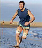 Bermuda de Bain Homme Multicolore à Motif Plage Microfibre Beach Day preview3