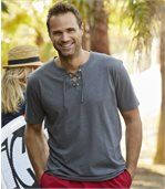 Pack of 2 Men's Lace-Up Neckline T-Shirts - Grey Red