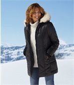 Women's Black Padded Coat with Faux Fur Hood preview3