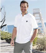 Pack of 2 Men's Officer-Collar Polo Shirts - Turquoise White