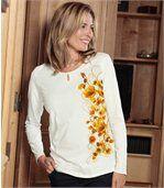 Women's Ecru Top - Keyhole Neckline - Floral Motif preview1