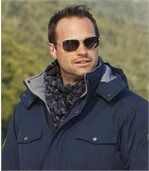 Men's Navy Jacquard Knitted Scarf