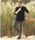 Sivé strečové džínsy