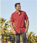 Men's Red Mandarin Collar Striped Shirt preview1