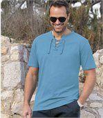 Set van 2 'Amorgos' T-shirts met veterkraag preview2