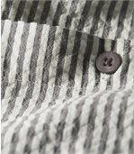 Men's Striped Shirt - Grey Ecru preview3