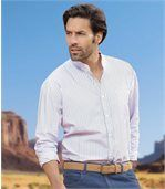 Men's Striped Western Style Banded Collar Shirt  preview1
