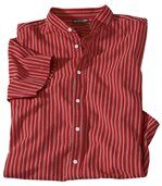 Men's Red Mandarin Collar Striped Shirt preview2