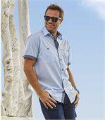 Men's Blue Short-Sleeved Summer Shirt preview2