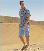 Men's Light Blue Stretch Denim Shorts