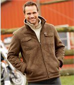 Men's Brown Jacket - Faux Suede Sherpa Lining preview1