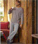 Men's Striped Grey Microfleece Pyjamas