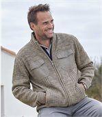 Men's Beige Zip-Up Knitted Cardigan