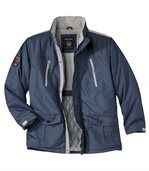 Men's Navy Blue Multi-Pocket Parka Coat