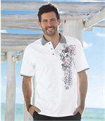 Men's White Polo Shirt with Grey Collar preview1