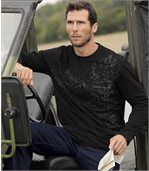 Pack of 2 Men's Long Sleeve Tops with Fuego Print - Khaki Black  preview2