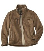 Men's Brown Jacket - Faux Suede Sherpa Lining preview2
