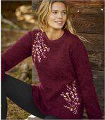 Trui van harige tricotstof met borduursels