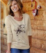 Women's Beige Lont Sleeve Top - Owl Print preview1