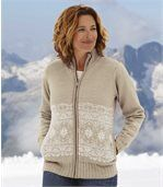 Women's Beige Zip-Up Jacket with Nordic Pattern preview1