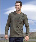 Pack of 2 Men's Long Sleeve Tops with Fuego Print - Khaki Black  preview3