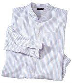 Men's Striped Western Style Banded Collar Shirt  preview3