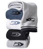 Pack of 5 Pairs of Men's Sports Socks - Grey White Blue Back