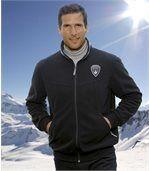 Men's Water-Repellent Black Fleece Jacket