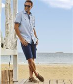 Men's Dark Blue Stretch Denim Shorts